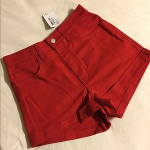 NWT American apparel red high waisted denim shorts